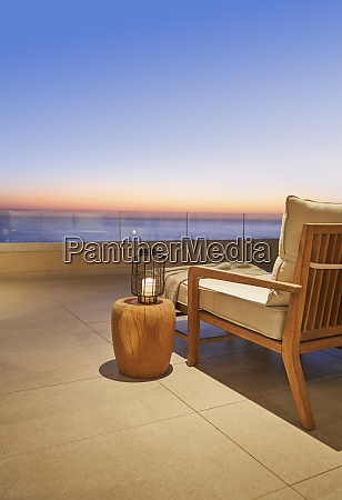 lantern and side table on luxury