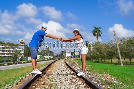 standing on rails