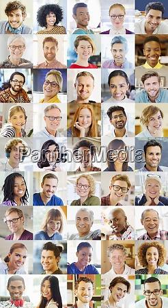 portrait smiling diverse community video conferencing