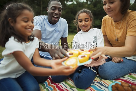family enjoying cupcakes on picnic blanket