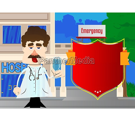 funny cartoon doctor holding glass with