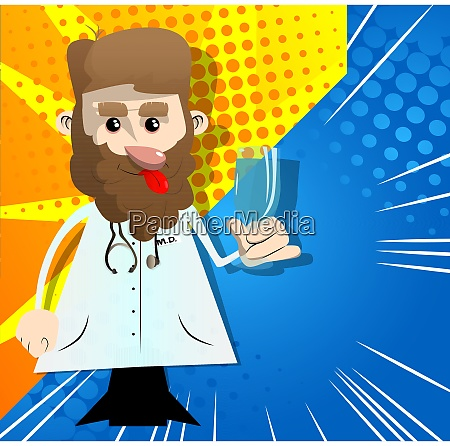 funny, cartoon, doctor, holding, glass, with - 29110755