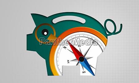 compass and piggy bank saving concept