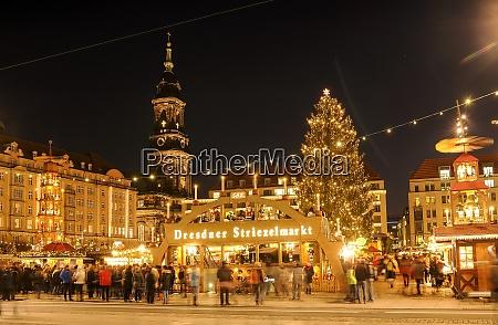 germany dresden view of striezelmarkt christmas