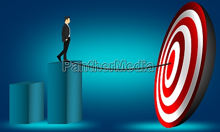 businessman aiming at directions to the