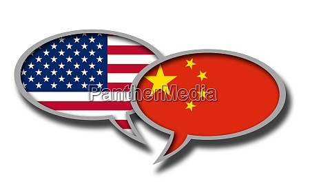 chinese and american flag speech bubbles