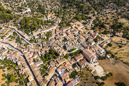 aerial view of houses in village