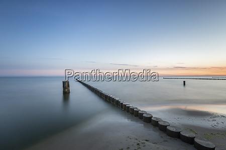 groyne on baltic sea beach at