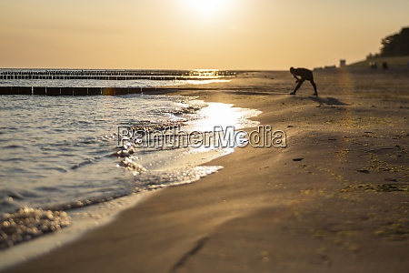 baltic sea beach at sunrise