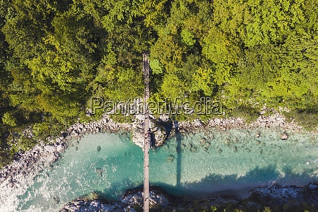 aerial view of suspension bridge over