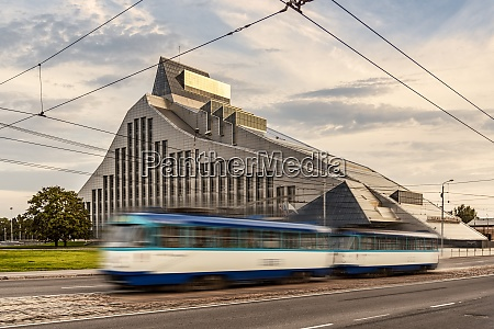 latvia riga tram in front of