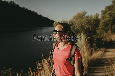 woman admiring view of river while