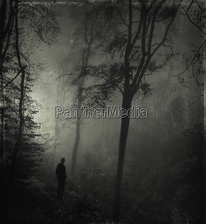man standing in gloomy forest