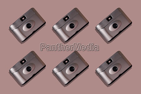 close up of cameras arranged on