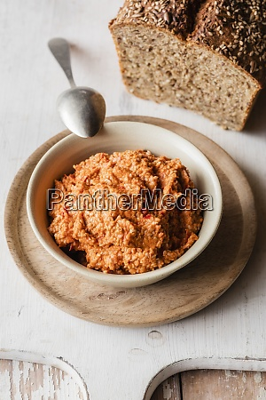 paprika and sesame spread bowl kept