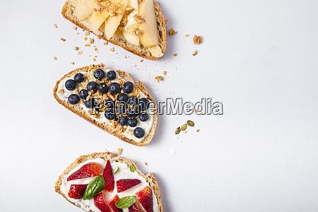 studio shot of three slices of
