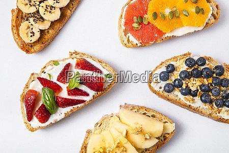 studio shot of five slices of