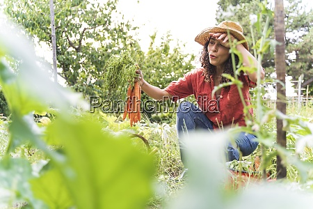 beautiful woman wiping sweat while harvesting