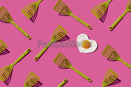 pattern of green spatulas with single