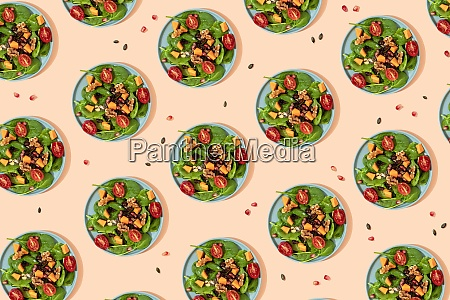 pattern of plates of fresh ready