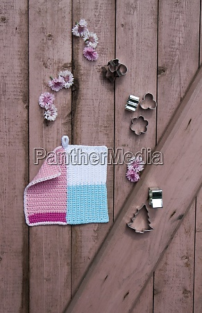 crocheted potholder blossoms and cookie cutters