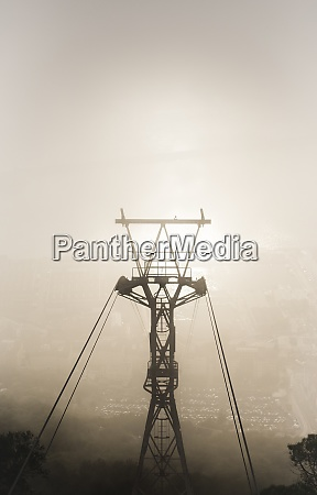 gibraltar cable car in the fog