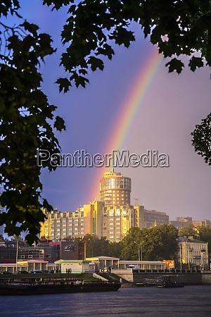 russia saint petersburg rainbow over building