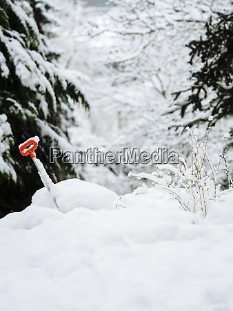 germany black forest shovel in snow