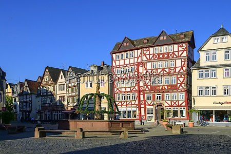 germany hesse butzbach market place with