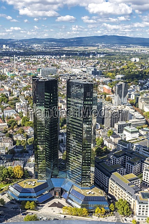 germany hesse frankfurt cityscape with deutsche