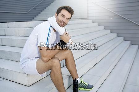 sportsman having a break
