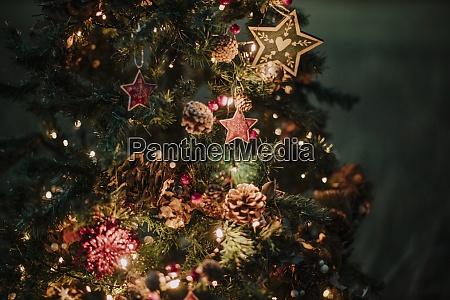 close up of illuminated christmas tree