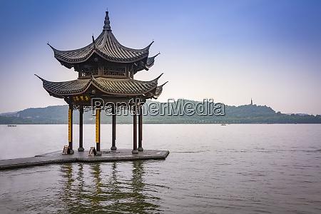 china zhejiang hangzhou traditional pavilion at