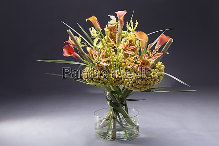 floral arrangement of craspedia globosa typha