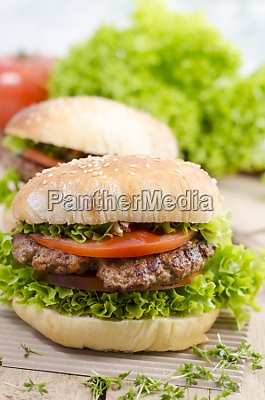 homemade hamburger with minced beef and