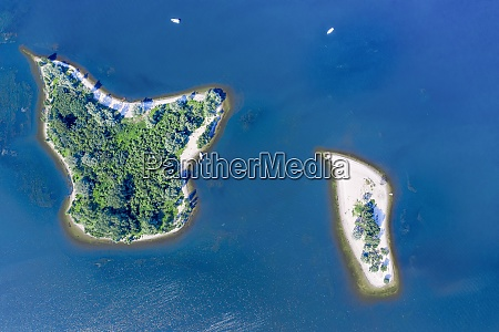aerial view of two islets inde