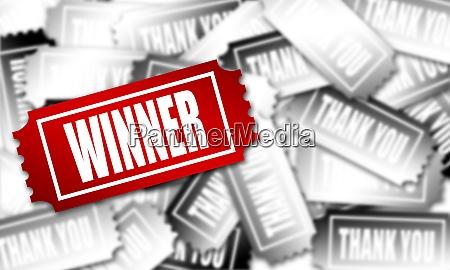 red winner ticket in the flat