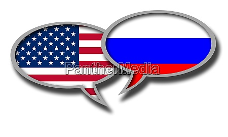 russia and america flag speech bubbles