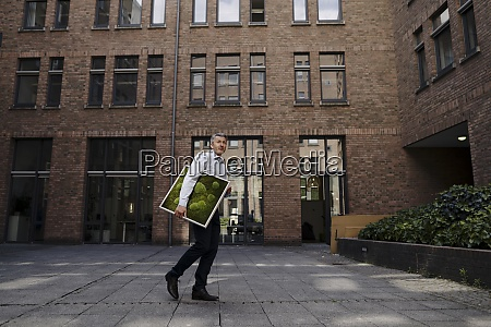 businessman carrying moss frame while walking