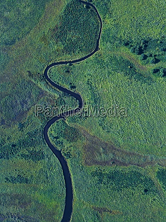 aerial view of river winding along