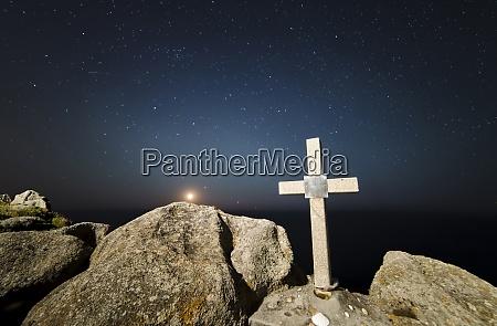 spain galicia ferrol moonset in a