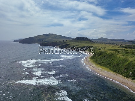 aerial view of coastal beach and