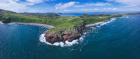 aerial panorama of coastal cliffs of