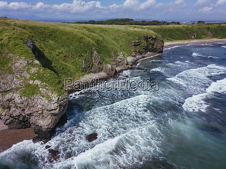 aerial view of coastal cliffs of