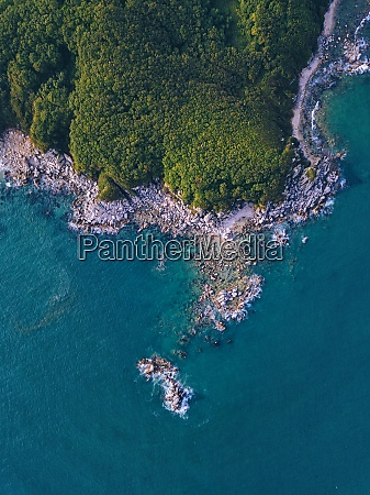 aerial view of rocky forested shore