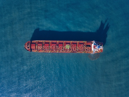 aerial view of container ship sailing
