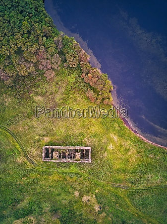 drone shot of old building on