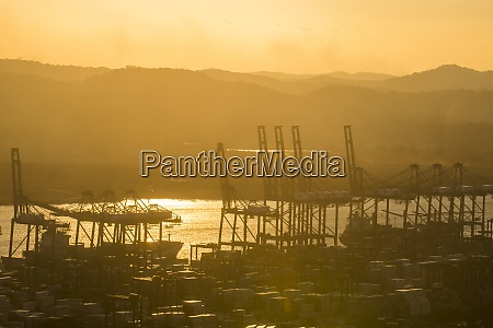 panama panama city cargo harbour on