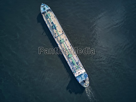 aerial view of oil tanker moving