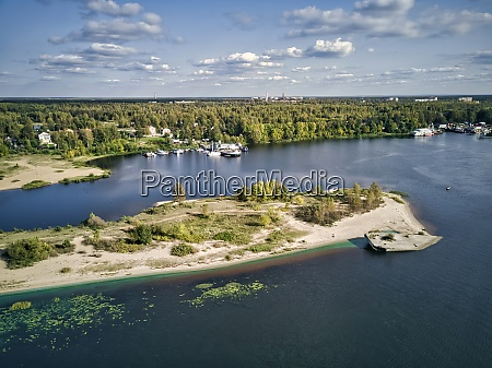 scenic view of volga river with